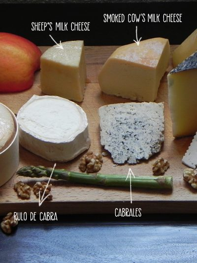 Selection of Spanish cheeses on a cheese board