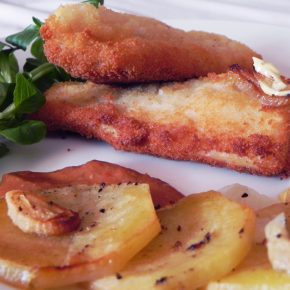Breaded Haddock with Patatas Panaderas