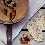 Porcini Mushroom Soup with Rosemary Almond Crackers