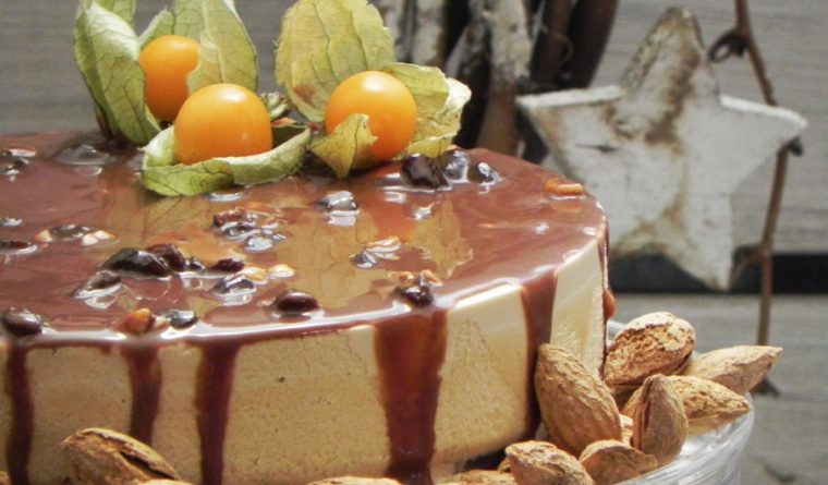 Semifrío de Turrón with Fig Bread & Honey Almond Chocolate Sauce