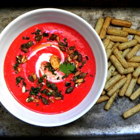 Strawberry Salmorejo with Basil