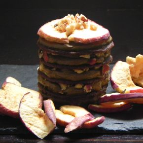 biscuits cake with aviocado chocolate filling and crunchy apple