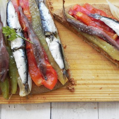 Coca De Escalivada With Sardines & Anchovies