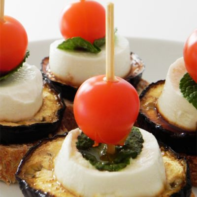 Grilled Aubergine With Goats Cheese, Mint & Cherry Tomatoes