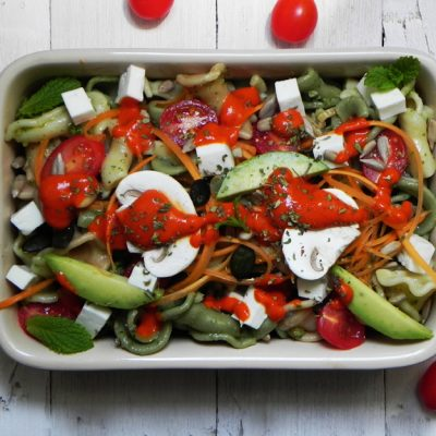 Mediterranean Pasta Salad With Piquillo Pepper Sauce