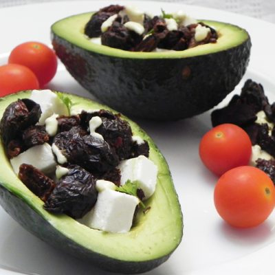 Avocados Stuffed With Olives, Sundried Tomatoes & Goats Cheese
