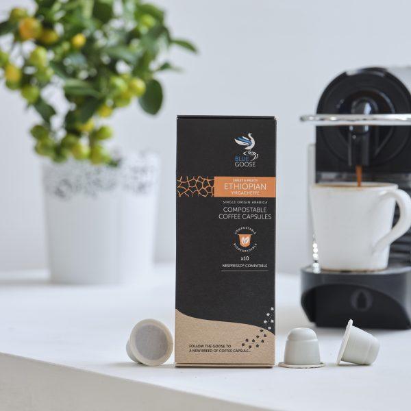 Blue Goose Compostable Biodegradable Coffee Capsules Single Origin Ethiopian Yirgacheffe