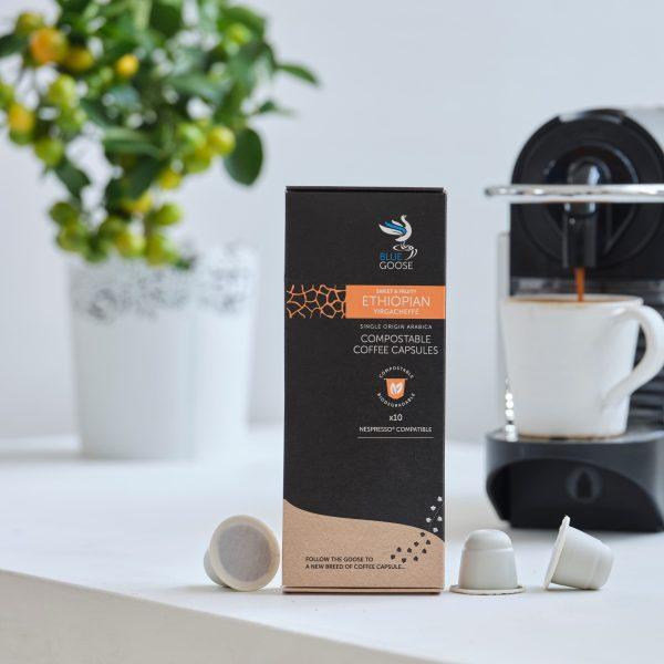 Blue Goose Compostable Biodegradable Coffee Capsules pods Single Origin Ethiopian Yirgacheffe