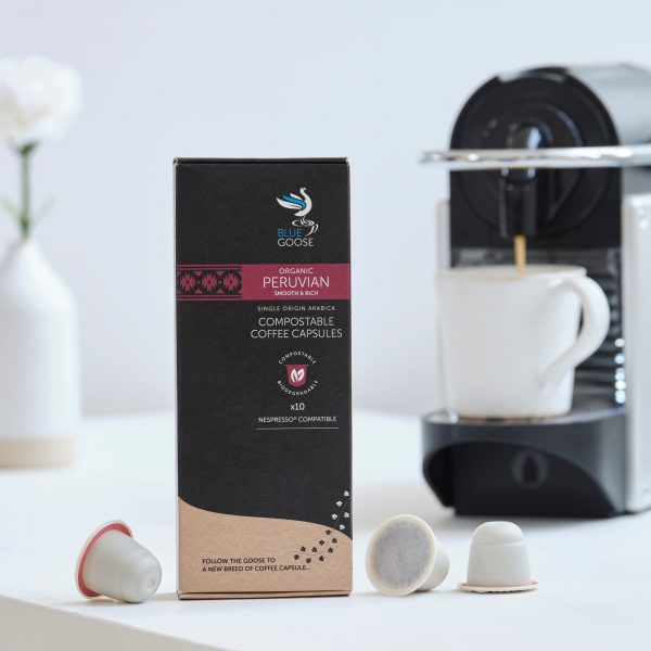 Blue Goose Compostable Biodegradable Coffee Capsules pods Single Origin Organic Peruvian Coffee