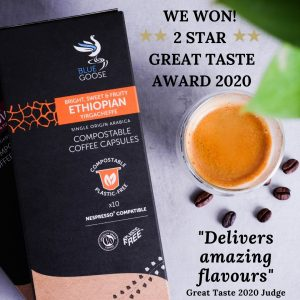 Blue Goose Compostable Coffee Capsules pods 2 star two star Great Taste Awards 2020 Single Origin Ethiopian Yirgacheffe eco coffee pods Compostable biodegradable Coffee capsules
