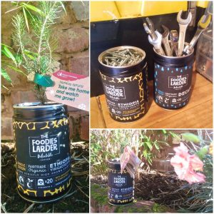 The Foodies Larder - bling your coffee capsule tin tools plants herbs