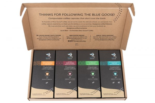 Biodegradable-Compostable-Nespresso-Coffee-Pods-Blue-Goose-Plastic-Free-Eco-Coffee-Capsules-gift pack-coffee capsule present sample box