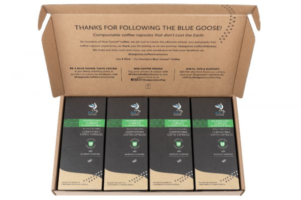 Blue Goose Compostable Lungo Coffee Capsule Eco Nespresso(r) Coffee pods