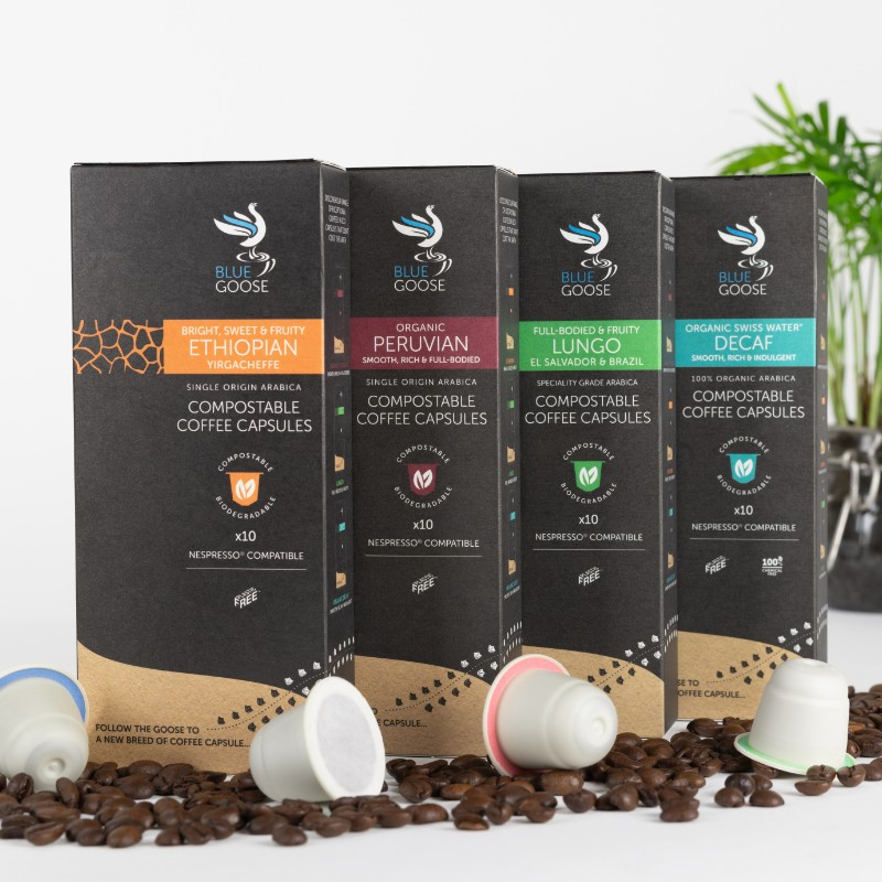 Biodegradable Compostable Nespresso Coffee Pods Blue Goose Plastic Free Eco Coffee Capsules