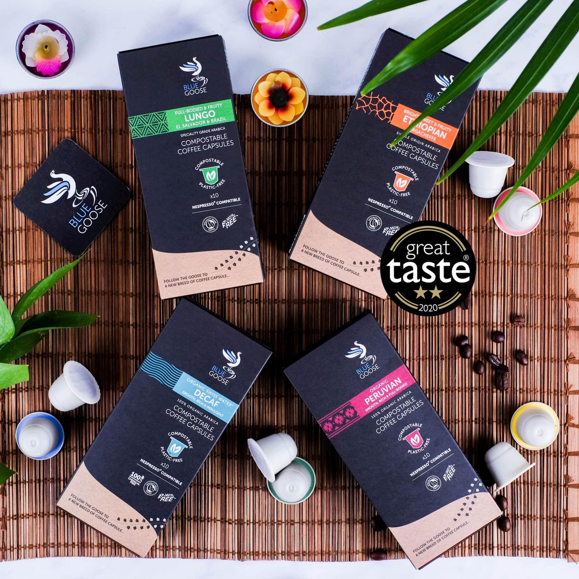 Biodegradable Compostable Nespresso Coffee Pods Blue Goose Plastic Free Eco Coffee Capsules