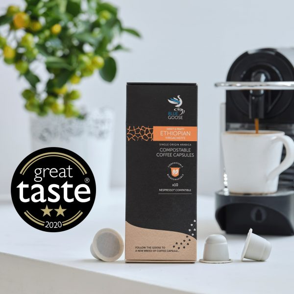 Blue Goose Best Compostable Coffee Capsules pods 2 star two star Great Taste Awards 2020
