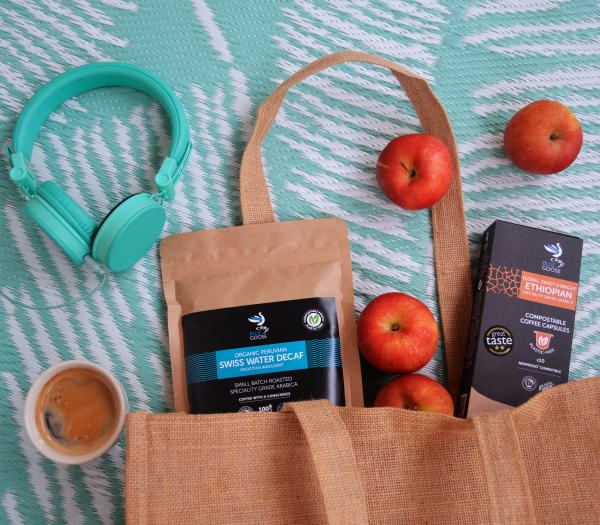 Blue Goose Eco Coffee Pods plastic free Nespresso pods Swiss Water Decaf bean ground in compostable pouches