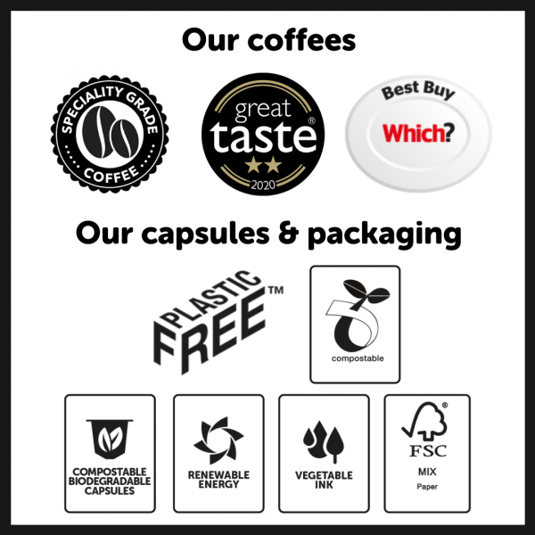 Blue Goose plastic free eco coffee pods for Nespresso compatible compostable plastic free coffee bags pouches
