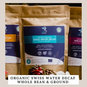 Organic Swiss Water Decaf Whole Bean & Ground compostable pouches
