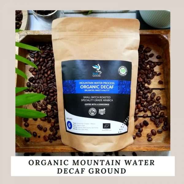Mexico Mountain Water Decaf coffee Bean & Ground plastic free compostable pouches Ethically sourced speciality grade coffee