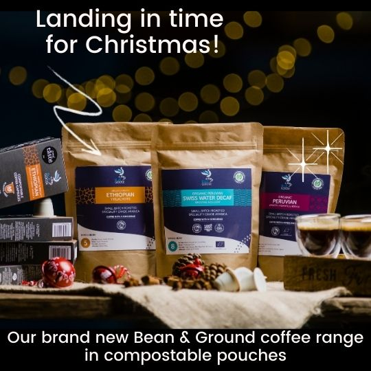 Whole Bean & Ground coffee compostable pouches - Blue Goose Coffee bean ground